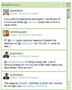 example of conference conversation via twitter (hootsuite)